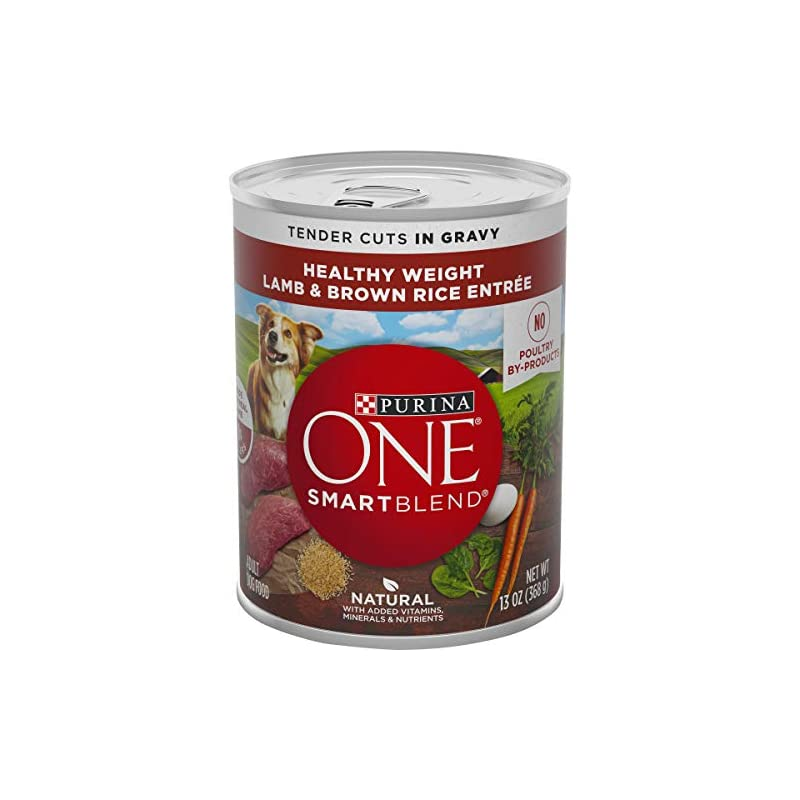 dog supplies online purina one weight management, natural wet dog food, smartblend healthy weight tender cuts lamb & brown rice - (12) 13 oz. cans