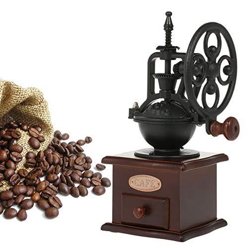 Manuelle Kaffeemühle Hand-Kaffeemühle,Jahrgang Handbuch Kaffeemühle,Antike Gusseisen Handkurbel Kaffeemühle mit Schleifen Einstellungen & Catch Schublade