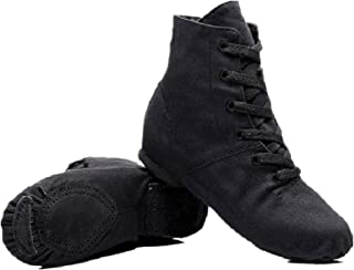 Lace-up Canvas Dance Shoes Flat Jazz Boots for Practice, Suitable for Both Men and Women (4K/5.5W/37, Black)