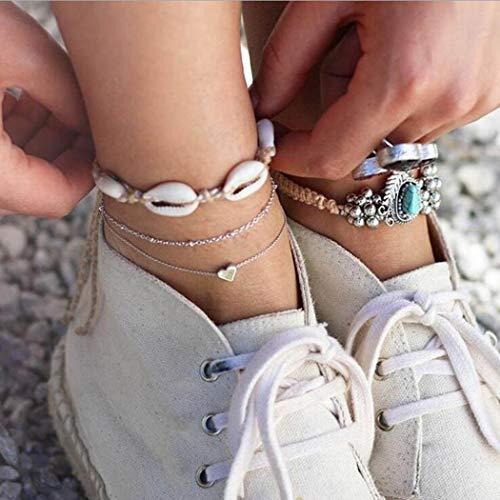 Simsly Strand Silber Fußkettchen Muschel 3-lagig Knöchel Armband Herz Seil Fuß Schmuck verstellbar für Frauen und Mädchen