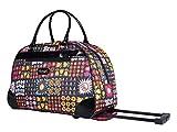 Kathy Van Zeeland Designer 22 Inch Carry On - Weekender Overnight Business Travel Luggage - Lightweight Printed 2-Rolling Spinner Wheels Duffel Bag (Patches Navy)