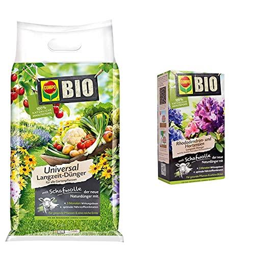 Compo BIO Universal Langzeit-Dünger mit Schafwolle für Gartenpflanzen, 4kg & BIO Rhododendron- und Hortensiendünger für alle Rhododendren und andere Morbeetpflanzen, 5 Monate Langzeitwirkung, 2kg