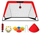 MESIXI 1 Foldable Pop Up Soccer Goal Net, 6 Agility Training Cones, 1 Portable Carrying Case, 1 Football, 1 Pump. Convenient for Kids Adults to Practice in The Backyard, School Square. 4′ Wide.