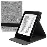 kwmobile Hülle kompatibel mit Amazon Kindle Paperwhite - Schlaufe Ständer - e-Reader Schutzhülle (für Modelle bis 2017) - Filz Hellgrau