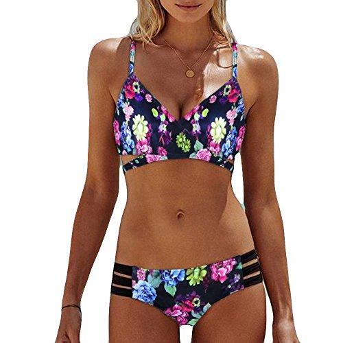 Mujeres Sexy Vintage Floral Print Sujetador Push-up Acolchado Bikini Set Traje de baño Dos Piezas Cintura Media Moda Verano Ropa de Playa