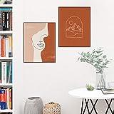 KELEQI Boho Line Art Print Woman Face Gallery Pictures Arte nórdico Póster de Paisaje Abstracto Pinturas de Sol Lienzo Decoración 19.6'x27.5 (50x70cm) X2 Sin Marco