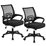 Topeakmart Ergonomic Office Chair Desk Chair Mesh Computer Chair with Lumbar Support Swivel Rolling Executive Chair for Back Pain,Black 2 Pack