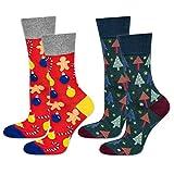 soxo Calcetines Navideños de Colores de Hombre 2 Pares | talla 40-45 EU | Set de Calcetines con Dibujos Originales| Divertido Regalo de Algodón | Calcetines Calientes de Navidad y Invierno