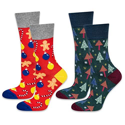 soxo Herren Weihnachtssocken | Größe 40-45 | Bunte Herrensocken aus Baumwolle | Besondere, mehrfarbig gemusterte Socken für Männer