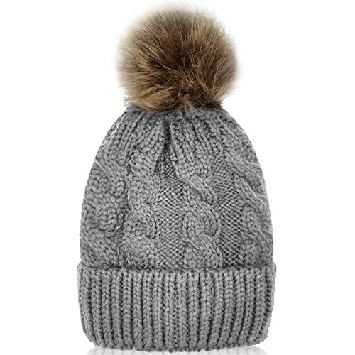 Whiteleopard Kid Beanie Hats Lining Pom Pom for Children -Slouchy Cable Knit Toddler Skull Hat Baby Ski Cap for Girls Boys (Grey)
