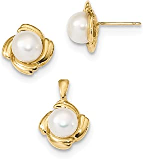 14ct 6-7mm White Button Freshwater Cultured Pearl Earrings and Pendant Set