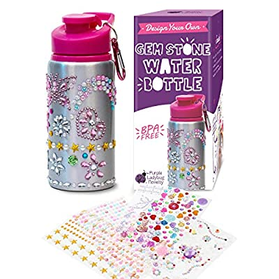 Decorate & Personalize Your Own Water Bottles for Girls with Tons of Rhinestone Glitter Gem Stickers! Reusable, BPA Free 20 oz Kids Water Bottle! Cute Gift for Girl, Fun DIY Art and Craft for Children