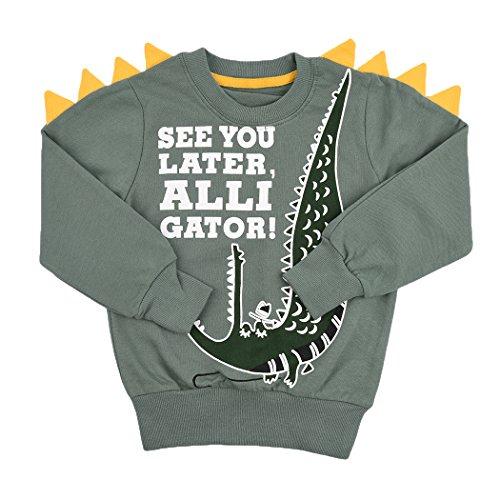 Tkria Jungen Kinder Sweatshirt Baby Baumwolle Pullover T-Shirt Top mit Dinosaurier/Krokodil 5 Jahre (Grün, 110)