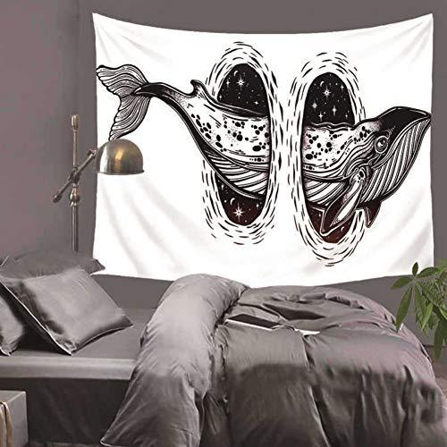 ZSYNB Wandbehang van macramé met witte achtergrond en zwarte achtergrond voor het strand, yogamat, wandbehang, decoratie voor thuis No frame 200x150cm