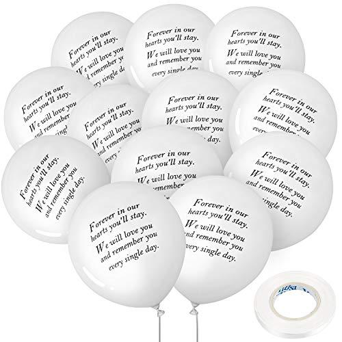 Gejoy 50 Stück Weiße Erinnerung Ballons Denkmal Beerdigung Balloons Biologisch Abbaubare Weiße Ballons und 3 Stück Ballonband für die Ballon Freigabe, Bestattung Dekoration