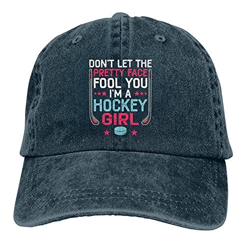Jopath Don't Let The Pretty Face Fool You I'm A Hockey Girl Funny Girl Ice Hockey Unisex Deportes Denim Cap Moda