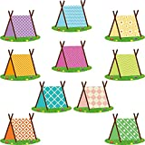 60 Pieces Woodland Tents Cut-Outs Camping Bulletin Board Decoration Woodland Tents Cut-Outs Educational and Learning Activities for Kids