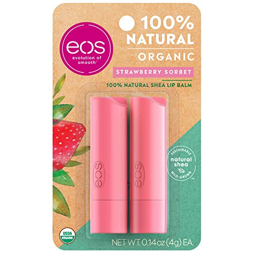 eos USDA Organic Lip Balm - Strawberry Sorbet | Lip Care to Moisturize Dry Lips | 100% Natural and Gluten Free | Long Lasting Hydration | 0.14 oz | 2 Pack
