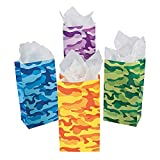 24 Paper Bright Assorted Color Camo Bags - Camouflage Goody Party Favor Treat or Lunch Bags - Bulk Pack (2 Dozen)