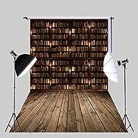 新しい5x7ft写真背景本棚ライブラリ本暗いヴィンテージフロアインテリア写真背景ビデオパーティーキッズ写真スタジオ小道具XT-6397
