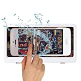 Bathroom Wall Mounted Cell Phone Organizer Shower Mobile Phone Holder Punch-Free Touchable Screen Paste Type Storage Case Waterproof and Anti-Fog (White)