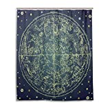 Pac Mac 12 Constellation Wheel of Destiny Cortina de ducha para baño, tela impermeable con ojales en forma de C, 152 x 183 cm