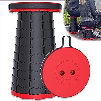 LEcylankEr Tabouret de camping pliable portable jusqu'à 150 kg, hauteur réglable de 6,5 à 47 cm pour extérieur, camping, pêche, barbecue, intérieur cuisine (mise à niveau 2021) (rouge)