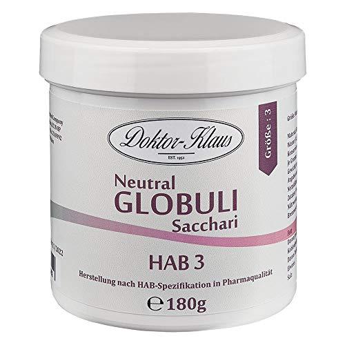 180g Neutral Globuli HAB 3, Doktor-Klaus, reine Saccharose, in weisser Dose