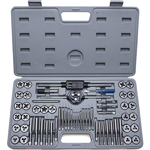 60-Piece Master Tap and Die Set - Include Both SAE Inch and Metric Sizes, Coarse and Fine Threads | Essential Threading and Rethreading Tool Kit with Complete Accessories and Storage Case