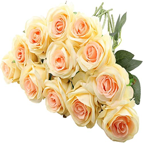 YYHMKB 12 Piezas de Rosas Artificiales, 19,7 Pulgadas de un Solo Tallo Largo, Flores de Seda, Ramo de Rosas realistas para la decoración de la Oficina del Banquete de Boda en casa, champán