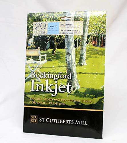 Bockingford 933(tamaño A4, 190G/m² de inyección de tinta papel de acuarela (Pack de 20)