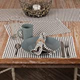 Farmhouse Ticking Stripe Gray Placemats w Rickrack, Set of 4 Place Mats, 12' x 18', Farmhouse Style Kitchen & Dining Decor