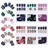 Faux Ongles Courts, 6 Boîtes 174 Pcs Artificiels Kit de Bouts d'Ongle 12 Tailles, Couverture Complète,Design Mat Bâton de Fichiers pour Salon d'Art d'Ongle Décoration DIY Accessoire de Manucure
