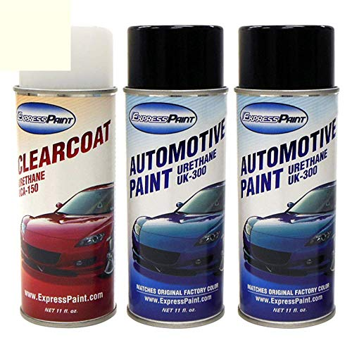 ExpressPaint Aerosol - Automotive Touch-up Paint for Cadillac CTS - White Diamond Pri Metallic Tri-Coat 98/WA800J - Color + Clearcoat Package