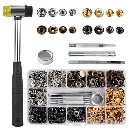 FOCCTS Juego de 120 Broches de presión de cuero, botones de metal con 5 herramientas de instalación para ropa, chaquetas, pantalones vaqueros, pulseras, bolsos