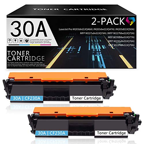 2 Pack Black 30A | CF230A Toner Cartridge Compatible Replacement for HP Laserjet Pro MFP M230sdn MFP M227sdn MFP M227fdw MFP M230fdw MFP M227fdn M203dn M203dw M203d Printers Toner.