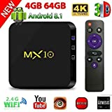 TV Box Android 8.1, 4G 64G LinStar MX10 Smart 4K TV Box RK3328...