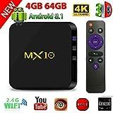 TV Box Android 8.1, 4G 64G LinStar MX10 Smart 4K TV Box RK3328...