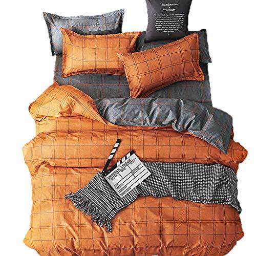 Monysword Juego de 3 piezas vitalidad Revestimientos de cama set Funda nórdica Funda de almohada, naranja y gris, 1PCS Funda nórdica 240 * 220CM, 2PCS Funda de almohada 50 * 75CM, apta para Hogar