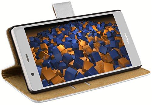 mumbi Tasche Bookstyle Hülle kompatibel mit Huawei Ascend P6 Hülle Handytasche Hülle Wallet, weiss