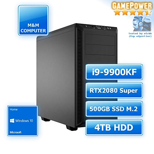 M&M Computer Dresden Gamer Silent PC, Intel i9-9900KF CPU, RTX 2080 Super 8GB, 480GB SSD M.2 (NVMe), 4TB HD, 16GB RAM 3000MHz, MS-Windows 10, PC-Kauf-Empfehlung