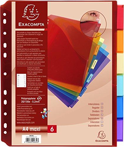 Exacompta 4834E Divisori e Segnaletica, 30x23.5 cm, Multicolore
