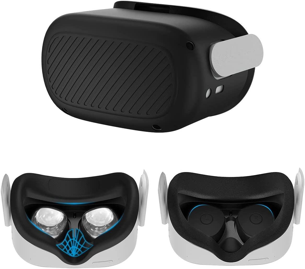 [3in1] Woocon Shell Front Face Protector Cover for Oculus Quest 2 Accessories,VR-2 Waterproof Silicone Face Cover Pad and Protective Lens Cover Anti Scratch Anti Dust Anti Shock VR-2 Case(Black)