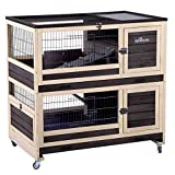Bunny Hutch Indoor and Outdoor Rabbit Cage on Wheels Guinea Pig Cage...