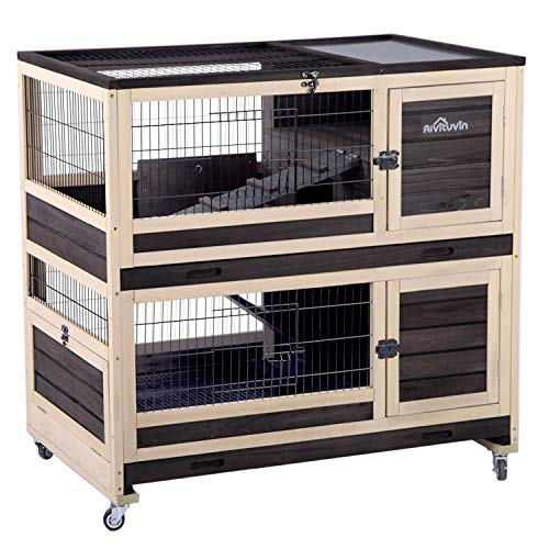 Bunny Hutch Indoor and Outdoor Rabbit Cage on Wheels Guinea Pig Cage with Deep No Leak Pull Out Tray,Upgrade Version (Brown)