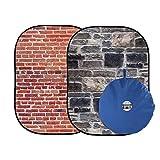 Lastolite バックグラウンド アーバン背景 1.5x2.1m 赤レンガ/グレー石壁 折り畳み式 LL LB5711