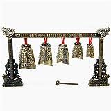 Handpan tambor Instrumento de bronce Meditación Gong Set 7 adornado cencerro musicales chinos