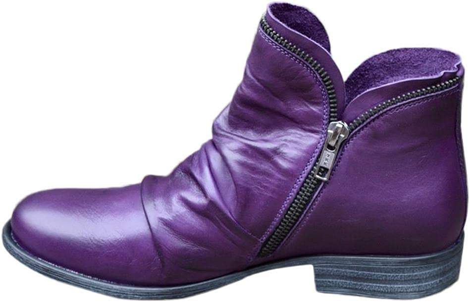 NOLDARES NIMIZIA Winter Roman Retro Snow Warm Ankle Booties Slip On Side-Zipper Outdoor Comfortable Women's Boots