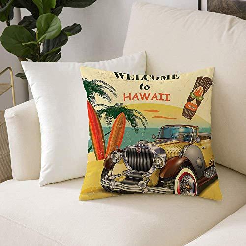 Fodera per Cuscino, Fodere per Cuscino Decorate in Poliestere Morbido,Anni '60, benvenuti alle Hawaii Stampa ameri,Decorativi Fodere Quadrate per Cuscino per Divano Camera da Letto Auto Casa(50x50cm)