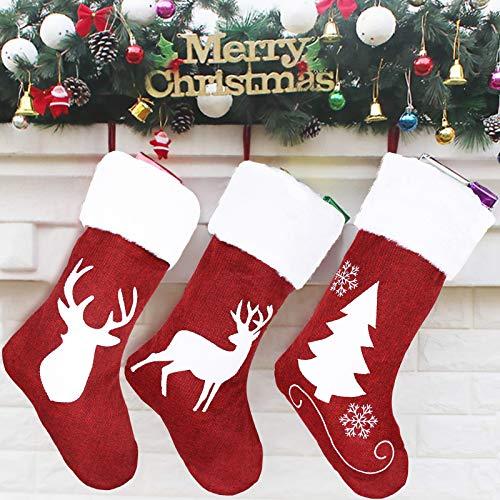Personalisierter Weihnachtsstrumpf, 3er set Weihnachtsstrümpfe Socken Nikolaussocken groß, Personalisiert Elk Nikolausstrumpf mit weihnachtlicher Stickerei, Hängende Strümpfe für Weihnachtsdeko
